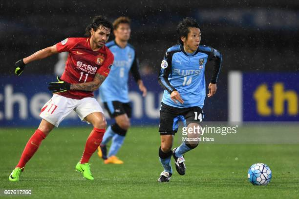 Kengo Nakamura of Kawasaki Frontale in action during the AFC Champions League Group G match between Kawasaki Frontale and Guangzhou Evergrande at...