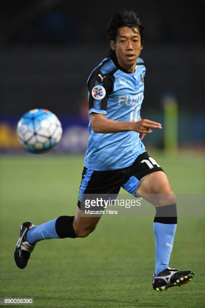 Kengo Nakamura of Kawasaki Frontale in action during the AFC Champions League Round of 16 match between Kawasaki Frontale and Muangthong United at...