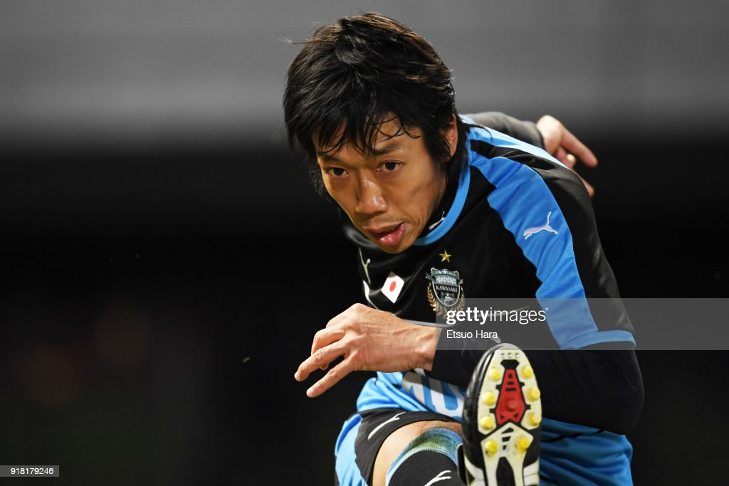 Kengo Nakamura of Kawasaki Frontale in action during the AFC Champions League Group F match between Kawasaki Frontale and Shanghai SIPG at Todoroki Stadium on February 13, 2018 in Kawasaki, Kanagawa, Japan.