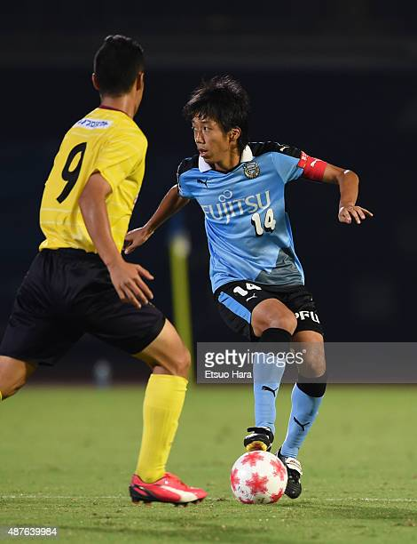 Kengo Nakamura of Kawasaki Frontale in action during the Emperor's Cup second round match between Kawasaki Frontale and Matsue City at Todoroki...