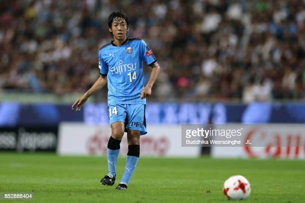 Kengo Nakamura of Kawasaki Frontale in action during the JLeague J1 match between Vissel Kobe and Kawasaki Frontale at Noevir Stadium Kobe on...