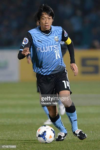 Kengo Nakamura of Kawasaki Frontale in action during the match between Kawasaki Frontale and Guizhou Renhe on February 26 2014 in Kawasaki Japan