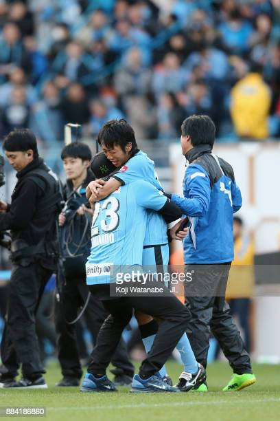 Kengo Nakamura of Kawasaki Frontale is congratulated by Eduardo during the JLeague J1 match between Kawasaki Frontale and Omiya Ardija at Todoroki...