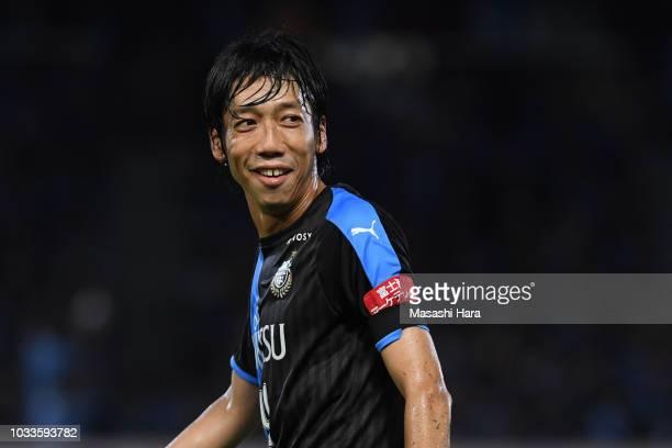 Kengo Nakamura of Kawasaki Frontale looks on during the JLeague J1 match between Kawasaki Frontale and Consadole Sapporo at Todoroki Stadium on...