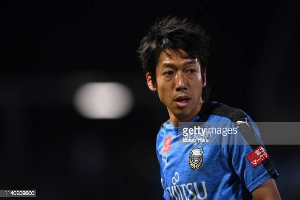 Kengo Nakamura of Kawasaki Frontale looks on during the JLeague J1 match between Kawasaki Frontale and Cerezo Osaka at Todoroki Stadium on April 05...