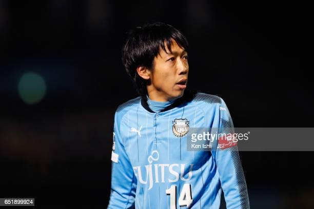 Kengo Nakamura of Kawasaki Frontale looks on during the JLeague J1 match between Kawasaki Frontale and Kashiwa Reysol at Todoroki Stadium on March 10...