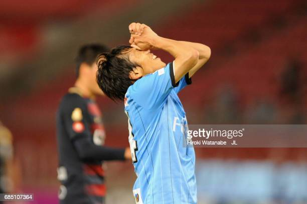 Kengo Nakamura of Kawasaki Frontale reacts after missing a chance during the JLeague J1 match between Kashima Antlers and Kawasaki Frontale at...