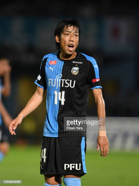 Kengo Nakamura of Kawasaki Frontale reacts during the JLeague J1 match between Kawasaki Frontale and Consadole Sapporo at Todoroki Stadium on...