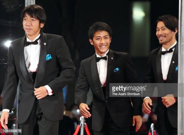 Kengo Nakamura Ryota Oshima and Akihiro Ienaga of Kawasaki Frontale attend the JLeague Awards at the Yokohama Arena on December 18 2018 in Yokohama...