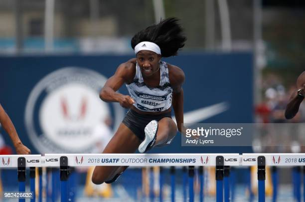 Keni Harrison clears a hurdle on her way to victory in the Womens 100 Meter Hurdles Semifinal during day 3 of the 2018 USATF Outdoor Championships at...