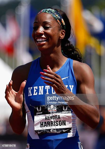 Keni Harrison reacts after finishing in second place in the Women's 100 Meter Hurdles final during day three of the 2015 USA Outdoor Track Field...