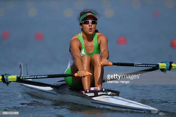 Kenia Lechuga Alanis of Mexico competes during the Women's Single Sculls Heat 1 on Day 1 of the Rio 2016 Olympic Games at the Lagoa Stadium on August...