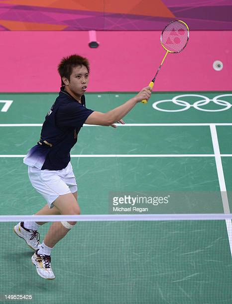 Kenichi Tago of Japan competes against Niluka Karunaratne of Sri Lanka during his Men's Singles Badminton match on Day 3 of the London 2012 Olympic...