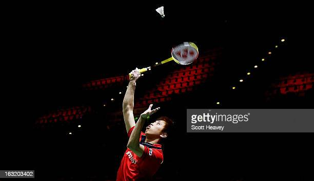 Kenichi Tago of Japan in action during Day Two of the Yonex All England Badminton Open at NIA Arena on March 6, 2013 in Birmingham, England.