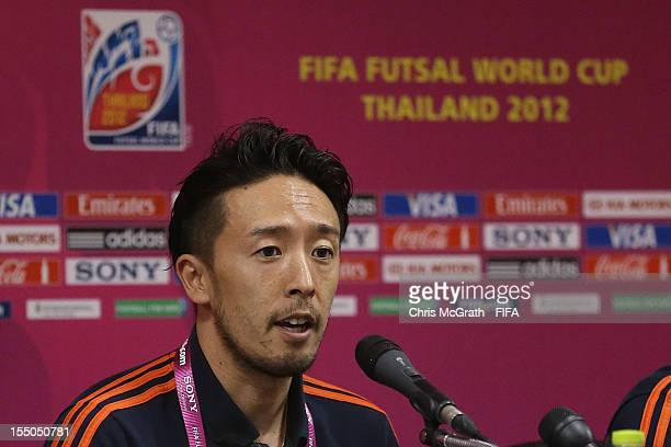 Kenichiro Kogure of Japan speaks to the media during a press conference for the FIFA Futsal World Cup Thailand 2012 at Korat Chatchai Hall on October...