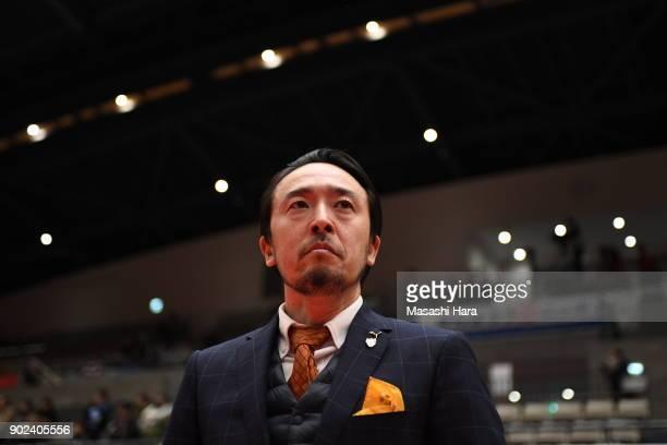 Kenichiro Kogurecoach of Shriker Osaka looks on prior to the FLeague match between Shriker Osaka and Agleymina Hamamatsu at the Komazawa Gymnasium on...