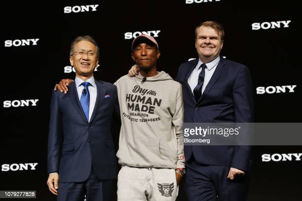 Kenichiro Yoshida president and chief executive officer of Sony Corp from left Pharrell Williams a singer and performer and Rob Stringer chief...