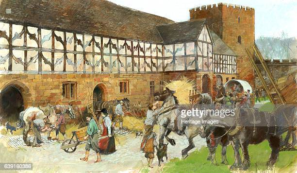 Kenilworth Castle Stables Reconstruction drawing by Ivan Lapper showing activity around the Stables Kenilworth Castle is located in Warwickshire...