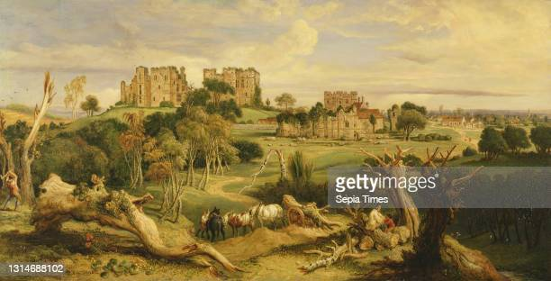 Kenilworth Castle, Warwickshire, James Ward, 1769–1859, British Oil on panel, Support : 23 5/8 x 46 5/8 inches , cart, castle, chopping, field,...
