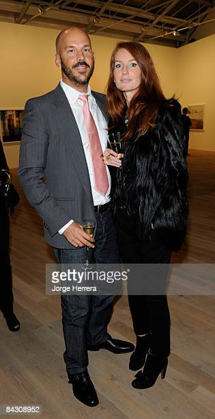 Kenin Kollenda and Angela Dunn attend the Tierney Gearon reception at Phillips de Pury on January 14 2009 in London England