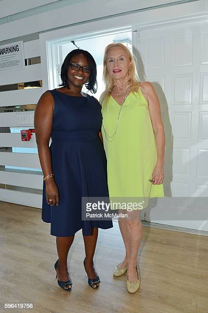 Kenita Lloyd and Cornelia Sharpe Bregman attend NYC Mission Society Cocktails and Conversations in Southampton at OREYA Hamptons on August 25 2016 in...