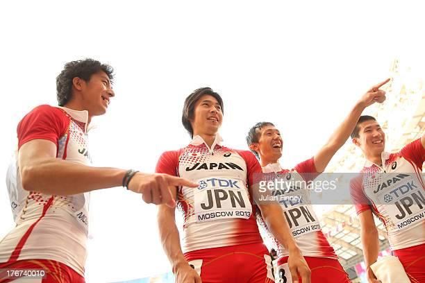 Kenji Fujimitsu Shota Iizuka Kei Takase and Yoshihide Kiryu of Japan look on after they compete in the Men's 4x100 metres final during Day Nine of...