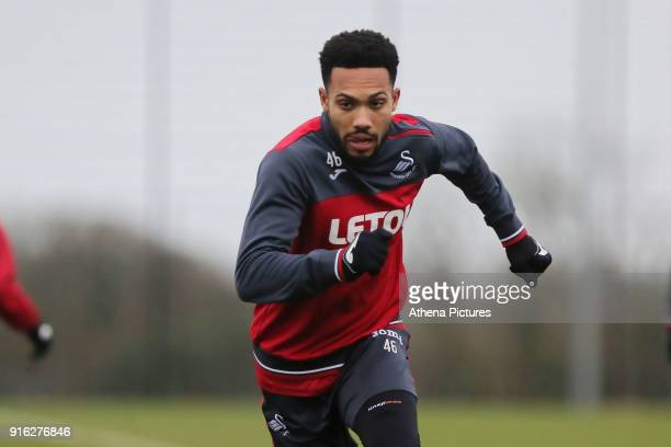 Kenji Gorre in action during the Swansea City Training and Press Conference at The Fairwood Training Ground on February 08 2017 in Swansea Wales