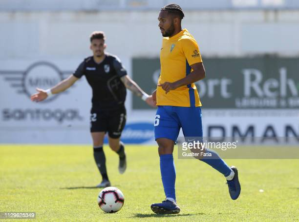 Kenji Gorre of GD Estoril Praia in action during the Ledman Liga Pro match between GD Estoril Praia and Vitoria SC B at Estadio Antonio Coimbra da...
