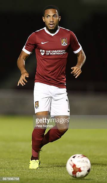 Kenji Gorre of Northampton Town in action during the checkatradecom Trophy match between Northampton Town and Wycombe Wanderers at Sixfields Stadium...