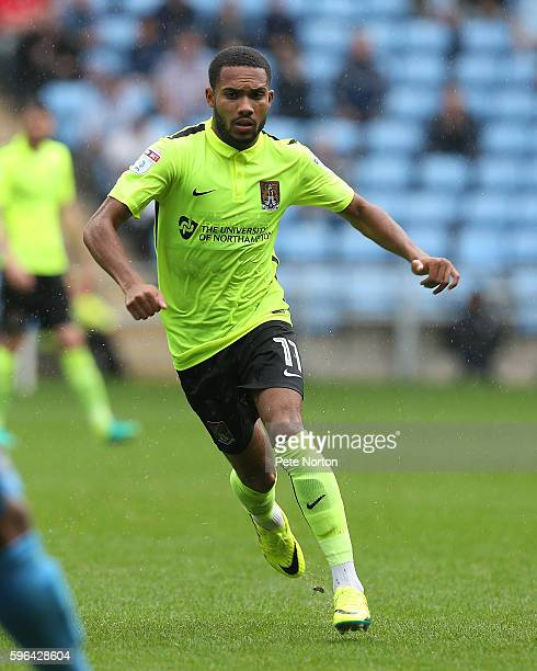 Kenji Gorre of Northampton Town in action during the Sky Bet League One match between Coventry City and Northampton Town at Ricoh Arena on August 27...