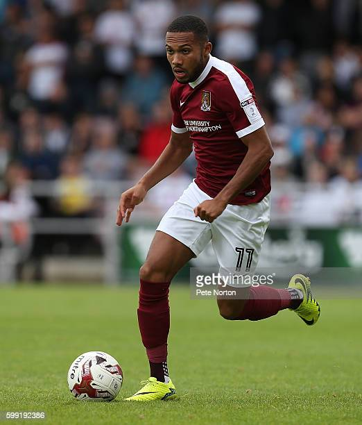 Kenji Gorre of Northampton Town in action during the Sky Bet League One match between Northampton Town and Milton Keynes Dons at Sixfields Stadium on...