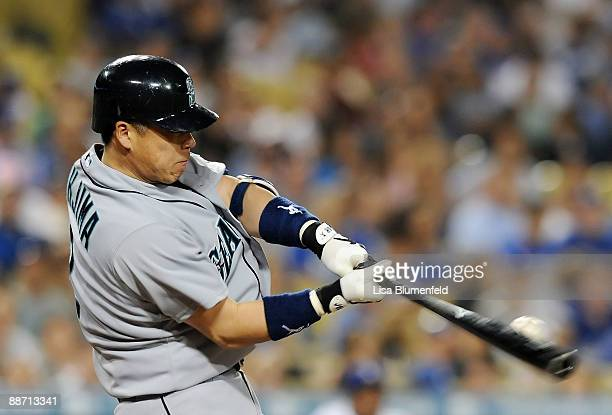 Kenji Johjima of the Seattle Mariners at bat against the Los Angeles Dodgers at Dodger Stadium on June 26 2009 in Los Angeles California