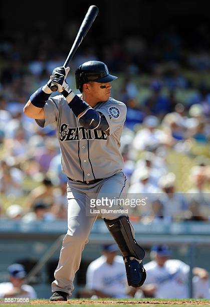 Kenji Johjima of the Seattle Mariners bats against the Los Angeles Dodgers at Dodger Stadium on June 28 2009 in Los Angeles California