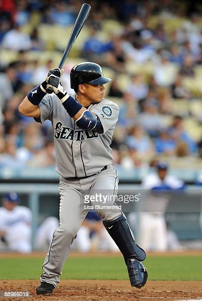 Kenji Johjima of the Seattle Mariners bats against the Los Angeles Dodgers at Dodger Stadium on June 26 2009 in Los Angeles California
