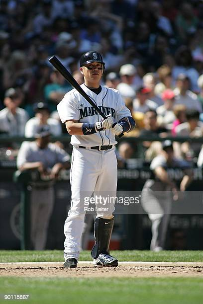 Kenji Johjima of the Seattle Mariners bats during the game against the New York Yankees at Safeco Field on August 16 2009 in Seattle Washington The...