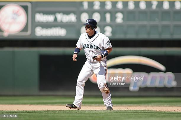 Kenji Johjima of the Seattle Mariners leads off second base during the game against the New York Yankees at Safeco Field on August 16 2009 in Seattle...