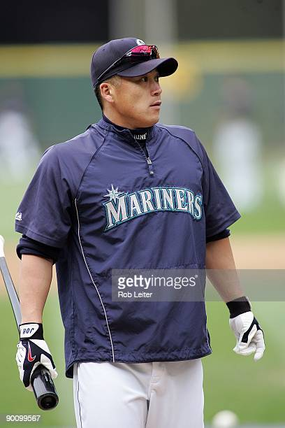 Kenji Johjima of the Seattle Mariners stands around the batting cage before the game against the New York Yankees at Safeco Field on August 15 2009...