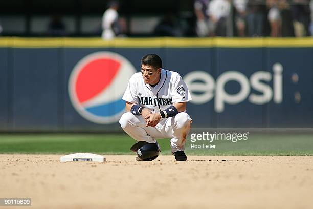 Kenji Johjima of the Seattle Mariners stands at second base during the game against the New York Yankees at Safeco Field on August 16 2009 in Seattle...