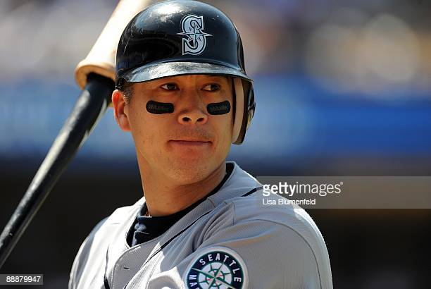 Kenji Johjima of the Seattle Mariners waits on deck during the game against the Los Angeles Dodgers at Dodger Stadium on June 28 2009 in Los Angeles...