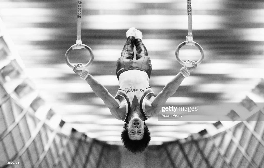 Kenji Kobayashi of Japan competes on the rings during day two of the Artistic Gymnastics NHK Trophy at Yoyogi National Gymnasium on May 5, 2012 in Tokyo, Japan.