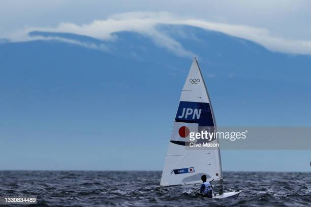 Kenji Nanri of Team Japan competes in Men's Laser race on day four of the Tokyo 2020 Olympic Games at Enoshima Yacht Harbour on July 27, 2021 in...