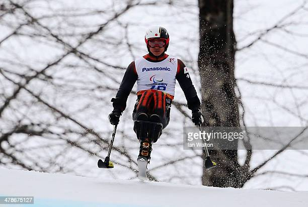 Kenji Natsume of Japan competes in the Men's Super Combined Sitting Super G on day seven of the Sochi 2014 Paralympic Winter Games at Rosa Khutor...