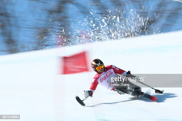Kenji Natsume of Japan competes in the Men's Super Combined SuperG Sitting at the Jeongseon Alpine Centre during day four of the PyeongChang 2018...