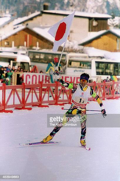 Kenji Ogiwara of Japan competes in the Nordic Combined Team competition during the Albertville Olympic on February 17, 1992 in Albertville, France.