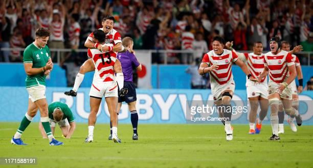 Kenki Fukuoka of Japan celebrates during the Rugby World Cup 2019 Group A game between Japan and Ireland at Shizuoka Stadium Ecopa on September 28,...