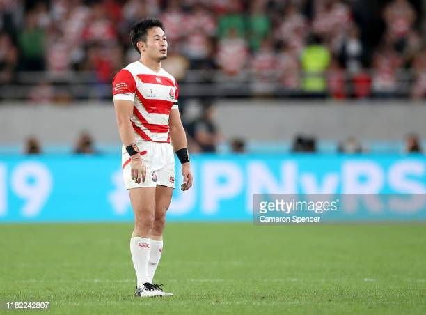 Kenki Fukuoka of Japan looks on following defeat in the Rugby World Cup 2019 Quarter Final match between Japan and South Africa at the Tokyo Stadium...