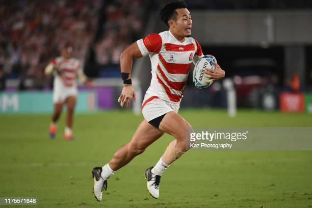 Kenki Fukuoka of Japan scores Japan's 4th try during the Rugby World Cup 2019 Group A game between Japan and Scotland at International Stadium...