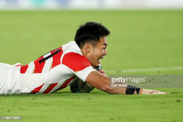 Kenki Fukuoka of Japan touches down to score their fourth try during the Rugby World Cup 2019 Group A game between Japan and Scotland at...