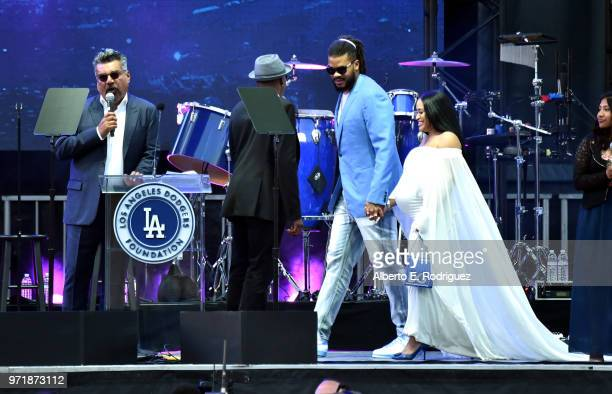 Kenley Jansen and Gianni Jansen attend the Fourth Annual Los Angeles Dodgers Foundation Blue Diamond Gala at Dodger Stadium on June 11, 2018 in Los...