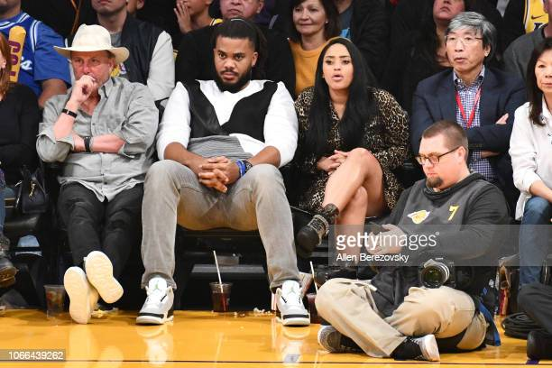 Kenley Jansen attends a basketball game between the Los Angeles Lakers and the Atlanta Hawks at Staples Center on November 11 2018 in Los Angeles...